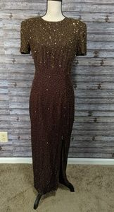 Brown beaded vintage brown and gold gown